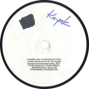 Kayak - See see the sun / U.S.A Testpressing