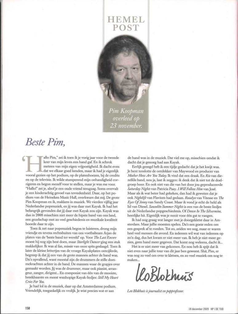 Pim Koopman - HP De Tijd 18 december 2009