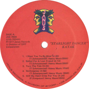 Kayak - Starlight dancer / U.S.A. Label variety 3