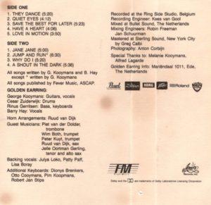 Golden Earring - The Hole / USA cassette