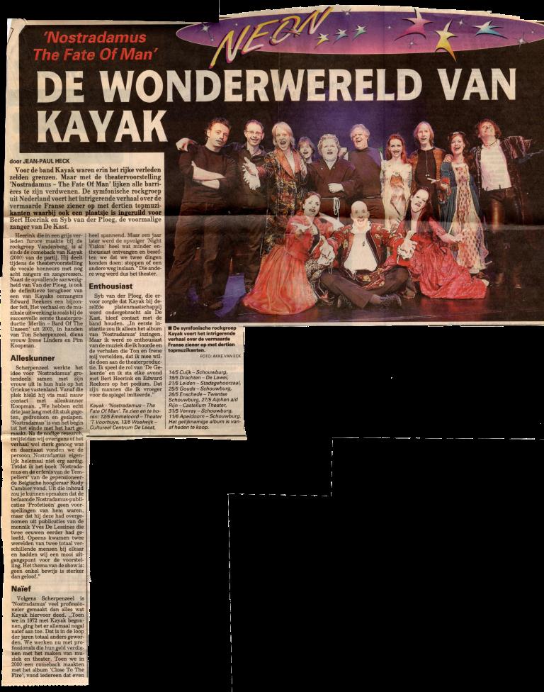 Kayak Nostradamus Telegraaf 2005