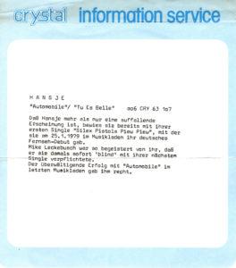 Hansje - Automobile / Germany info sheet
