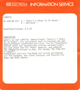 The lunatix - There's a ghost in my house / Germany info sheet