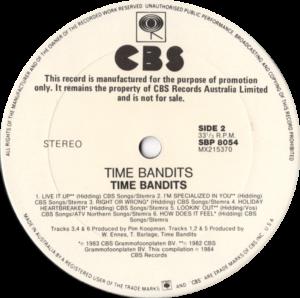 Time Bandits - Time Bandits / Australia White label promo